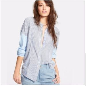 Free People Cape Town Striped Button Front Blouse